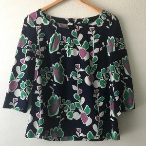 Banana Republic Floral Sheer 3/4 Sleeves Blouse M